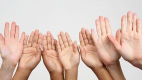 Many raised hands in a row. cooperation and Association of friends. The many raised hands in a row. cooperation and Association of friends stock images