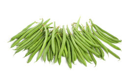 Many raw green  beans. Isolated over white Stock Photo