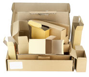 Many real small cardboard boxes Royalty Free Stock Photography