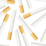 Many realistic cigarettes on white background Royalty Free Stock Photos