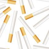 Many realistic cigarettes on white background stock illustration