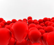 Many red balloons. Fly in the air Stock Images