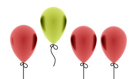 Many red balloons one is green rendered isolated. On white background Stock Photos