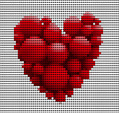 Many red balls in form of heart isolated Stock Photography