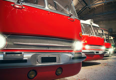 Many red city buses. Royalty Free Stock Images