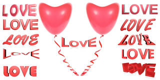 Many red 3D inscriptions love. Red balloon a heart Royalty Free Stock Images
