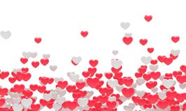Many red fnd white hearts. 3d background Royalty Free Stock Image