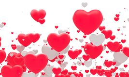 Many red fnd white hearts. 3d background Stock Images