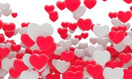 Many red fnd white hearts. 3d background. Illustration Stock Photo