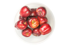Many red fresh apples. In bowl Royalty Free Stock Images
