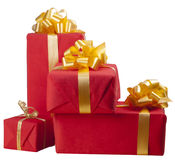 Many red gift boxes Royalty Free Stock Photos