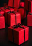 Many red gift boxes Royalty Free Stock Image
