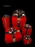 Many red gift boxes with gold ribbon and bow. Isolated on black background 3d render ( high resolution Stock Images