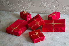 Many Red Gifts. Photo serie with Red Gifts Stock Image