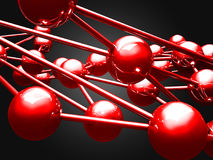 Many red glossy spheres. Abstract elegant background. 3d render illustration Royalty Free Stock Photos