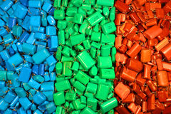Many red green blue colorful capacitors as electronics backgroun Stock Photography