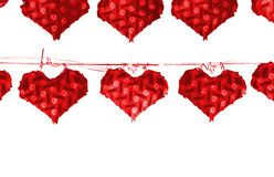 Many red heart lamp hanging on wire on white background, leave. Space for adding text Stock Photo