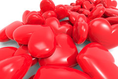 Many red hearts. 3d on background Stock Photo