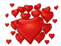 Many red hearts with reflection Stock Photography