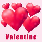 Many red hearts on valentine card Stock Images