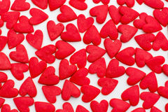 Many red hearts on a white background Royalty Free Stock Photography