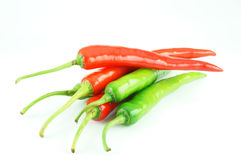 Many of red hot chili pepper. On white background Stock Photo