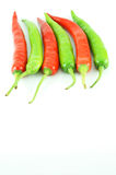 Many of red hot chili pepper. On white background Stock Photos