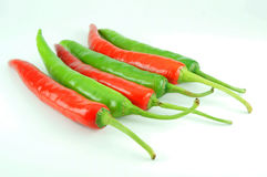 Many of red hot chili pepper. On white background Royalty Free Stock Photography