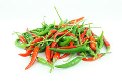 Many of red hot chili pepper. On white background Stock Photography
