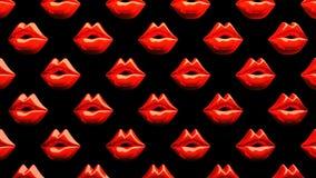 Many Red Kissing Lips On Black Background stock illustration