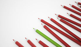 Many red pencils one Royalty Free Stock Image