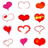 Many red and pink hearts. Many coloured vector brush hearts on transparent background vector illustration