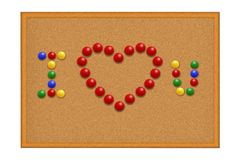 Many red pushpins in I love you Royalty Free Stock Photography