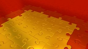Red Puzzle Pieces on all other the floor becoming Gold pieces. Many Red Puzzle Pieces on all other the floor becoming Gold pieces Stock Image