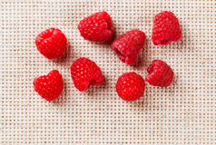 Many red ripe raspberry fruit, on gray linen Stock Image