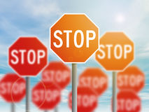 Many red stop sign Stock Photos
