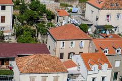 Many Red Tile Pipe Roofs in Croatia Stock Photo