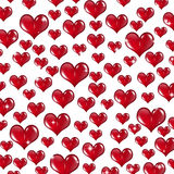 Many Red Valentine Hearts on White Background Royalty Free Stock Images