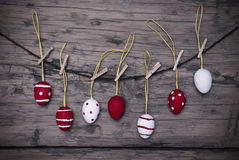 Many Red And White Easter Eggs Hanging On Line  With Frame Royalty Free Stock Photo