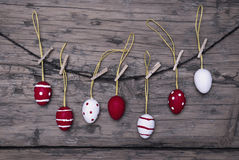 Many Red And White Easter Eggs Hanging On Line Stock Photo