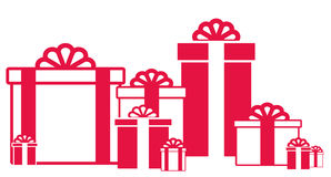 Many red and white isolated gift box Stock Photography
