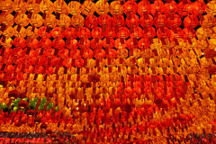 Many red, yellow and green glowing lanterns Stock Image