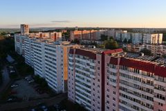 Many residential buildings at summer evening during sunset. In Perm, Russia Stock Photography