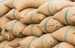 Many rice sacks in row perspective Royalty Free Stock Photography