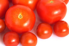Many ripe red tomatoes isolated on white Stock Photography