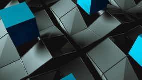 Many rising and turning cubes with shadows, computer generated modern abstract background, 3d render. Ing vector illustration