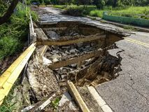 Washout on Puerto Rico road in Caguas, Puerto Rico Royalty Free Stock Image