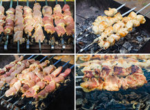 Many roast meat pieces on skewer. shish kebab cooking process Royalty Free Stock Images