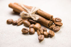 Many of roasted coffee beans and cinnamon on the tablecloth Stock Images