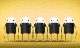 Many robots with glowing heads holding hands Royalty Free Stock Photography